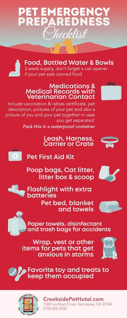 Pet Emergency Preparedness Checklist from Creekside Pet Hotel in Kennesaw, Georgia